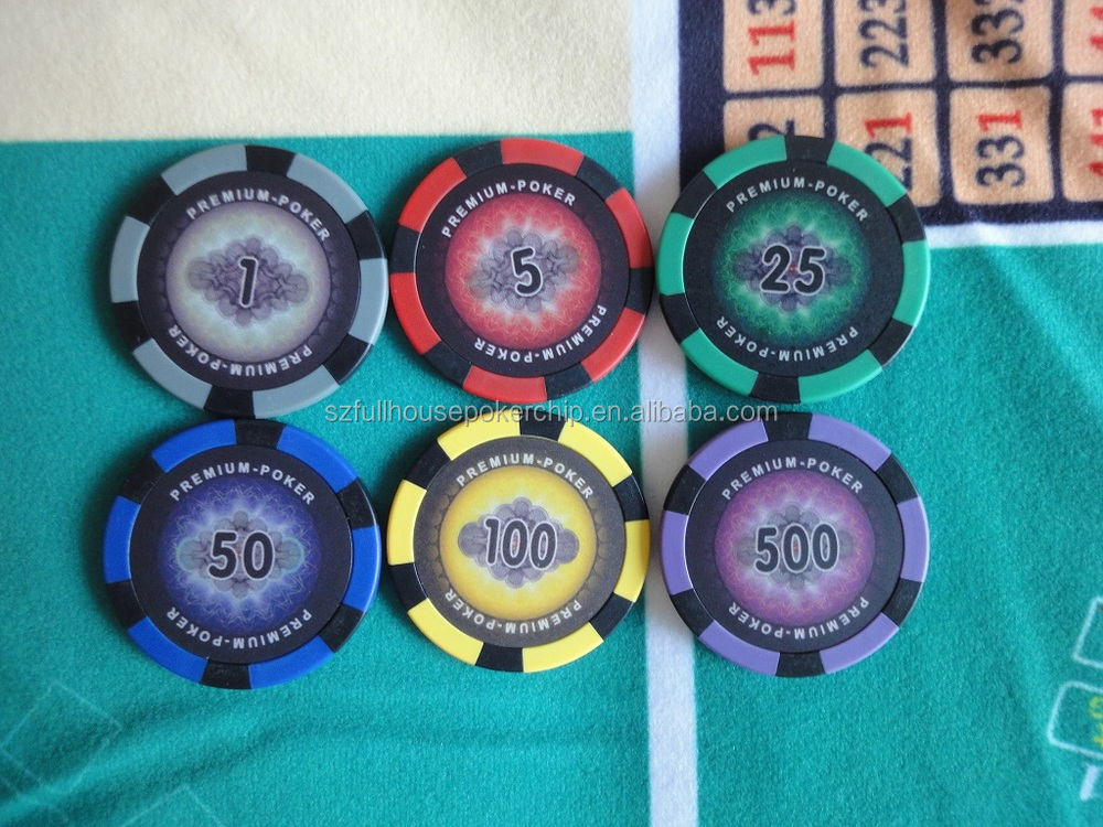 Poker chips with denominations t-slot framing nuts