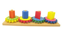 educational toy wooden gear toy of block&interesting shape combination building block