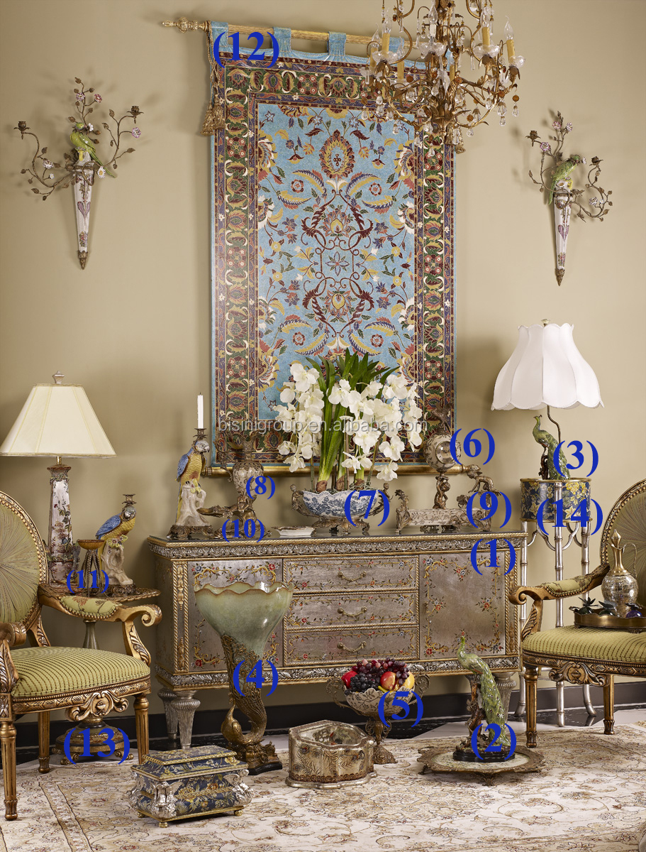 Elegant And Exquisite Hand Painted Living Room Console Table With Porcelain Decoration Sets Bf06