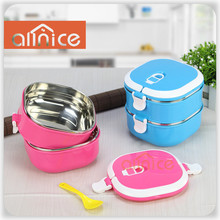 Stainless steel bento lunch box for kids Thermal food container food box Lunchbox pink/blue square shape with a gift spoon
