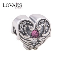 Heart Charm With Crystal Angel Wing 925 Sterling Silver Jewelry Making Pendants Beads Fits Charm Bracelet Necklace YZ700