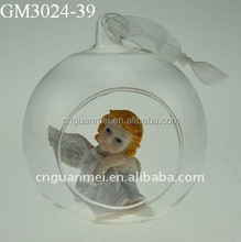 Hot Sell Handblown Decorative Clear Open glass Ball with Angel Inside