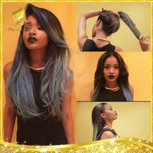 100% Brazilian virgin hair silk straight wig ombre color for black women wholesale human hair grey lace front wig/full lace wig