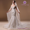 HM96755 Cap Sleeve Backless Luxury Beaded Sexy Mermaid Wedding Dresses With Court Train