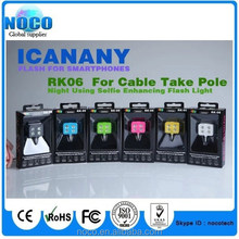 LED flash Llight of icanany for smart phone, RK06 for cable take pole, night using selfie flash light