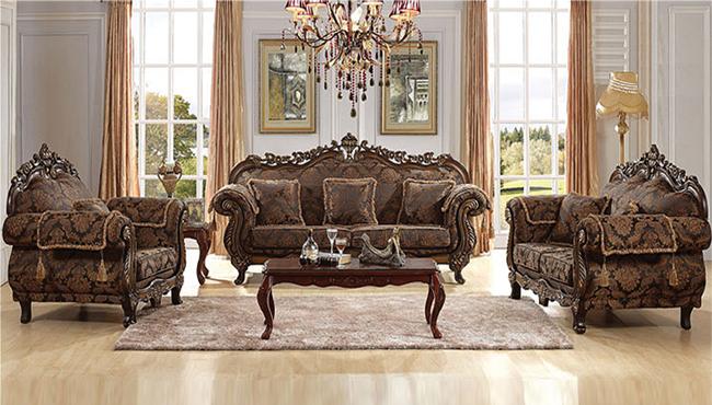 Ornate Wood Frame Floral Fabric Upholstered Antique