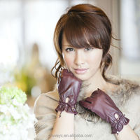 Top sale basic purple ladies sheep leather gloves w leather bow 2014 fashion accessories