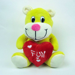 20cm mini size yellow bear plush toys with heart in hands