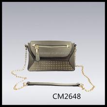 metalic silver grey studded mini satchel bag pu chain cross body bag