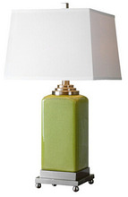 high quality gallery nice neck green ceramic table lamp with pagoda shade