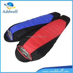 Outdoor light camping heated mummy minion down sleeping bag