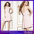 Un- línea de color rosa de color sin mangas de gasa corto en línea tienda de china de gasa vestido de dama de honor