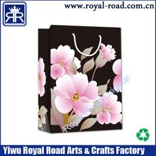 peony flower delicate printed shopping paper gift bag black bottom bag