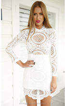 2015 Elegant White Lace Dress with Lace Overlay Mock Neck Scalloped Hem Zipper at Back and White Lining