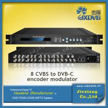 Converting 8 CVBS A/V DVB-C RF out modulator