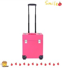 High quality professional pink PU leather cosmetic trolley case beauty tool box RZ-STR-032