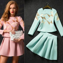 Women Stylish Office Lady Long Sleeve Geometric Pattern elegant blouse and skirt set SV011319