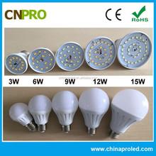 High lumen 6W Plastic SMD 5630 Warm White led lighting bulb with no flicker laser