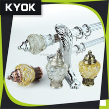 Wholesale High Quality Copper Curtain Rod Finials, Chroming 1 Inch Iron Curtain Pole KYOK 10 Years Experience