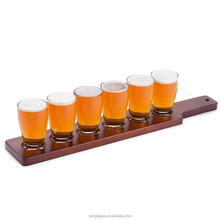Hot selling hight quality 5oz beer brewing process on the fly - four wine glass set with red wine brown wooden tray