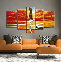 Modern abstract african nude woman painting