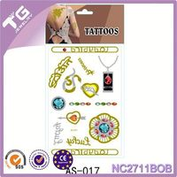 Silver Body Metallic Tattoo Stickers,Custom Golden Tattoo Stickers,Lemon Yellow Metallic Tattoo Ink