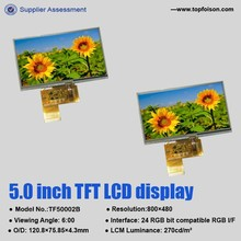 """Factory manufacturing 5"""" tft lcd touch screen module with resolution 800*480 and resistive touch -TF50002B"""