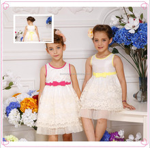 Kids fashion dresses pictures, embroidered baby frock, birthday dresses for girls with belt in waist