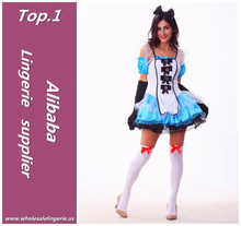 Blue plain fancy puffy dress carnival costume alice in wonderland for women to cosplay party