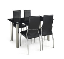 hot sale cheap black glass heavy-duty dining table and chairs SN-D18 1+4