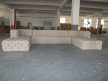 Classical french wooden frame upholstery button fabric popular sectional sofa