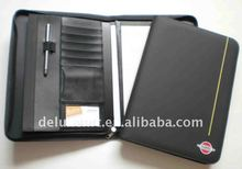 a4 dongguan 2014 pu leather padfolio zipped with strap