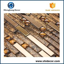Long strip gold and gray color glass mosaic tile for sale from China