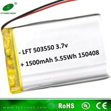 li-polymer batery 503550 3.7v with 1500mah rechargeable li-po battery for GPS tracking