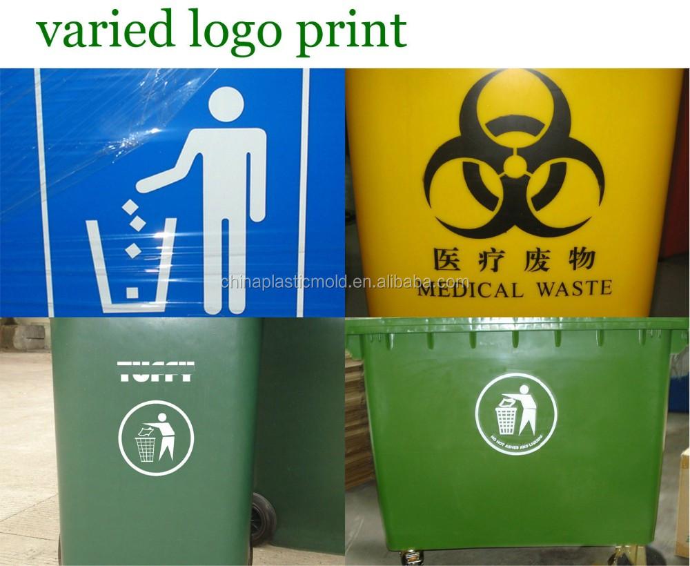 Hot Sale Plastic Bin 240l Outdoor Waste With Wheels Zehn Swing Large Tempat Sampah Logo Print2