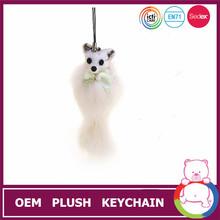 Cute soft make toy plush fox keychain for multiple keys
