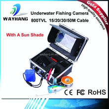 HD 800 TVL Underwater fishing video camera fish finder camera CR110-7LS with SUN-VISOR. 15m, 20m, 30m super strong cable