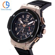 Megir Factory Direct Sell Big case watch megir 3002 Silicone rubber watch