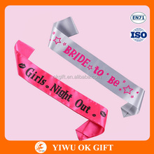 Bright Color Hen Party Bride To Be Satin Party Sash