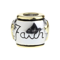 Wholesale Gold-plate Faith Authentic 925 Sterling Silver Charm for European Bracelet