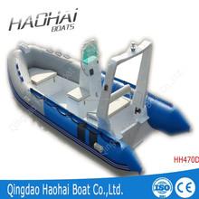 CE 4.7m pvc or hypalon tubes inflatable fiberglass rib boat