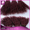 Hot selling best grade Brazilian 8inch $8.5/pc Burgundy Bebe/Baby Curl 100% virgin hair weft accept paypal