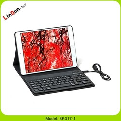 Leather bluetooth keyboard case for ipad air 5 360 degree rotation