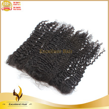 Wholesale Mongolian Kinky Curly Hair Lace Frontal Closure 100% Human Hair Closure Bleached Knots