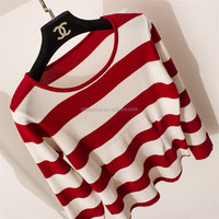 Factory direct sales excellent color combination stripe pullover knitwear