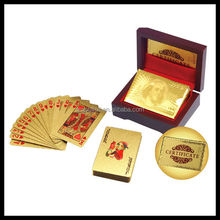 Golden Gift & Crafts 24k Gold Poker Card, Competitive Price Smart Metal Gold Playing Card With Luxury Wooden Gift Box