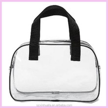 Hot sale clear bag with handle, pvc clear plastic handle bags