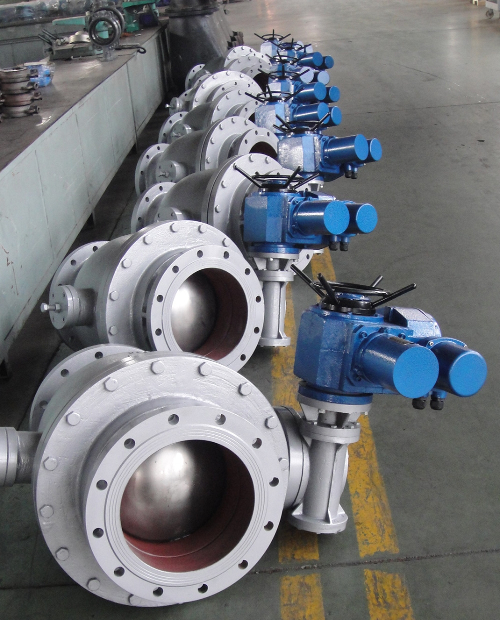 Electric discharge ash flange ball valve