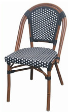 Aluminum Bamboo Patio cafe Chair with Black & White Rattan AS-6155