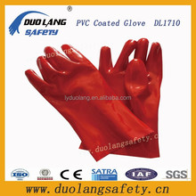 Cotton Interlock Fully Coated Red PVC Gauntlet Gloves/Comfortable PVC Coated Glove